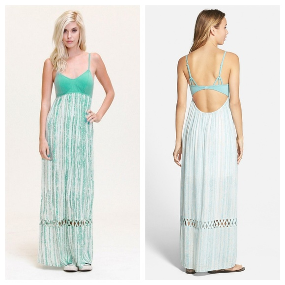 2c337c6df2d RVCA Clever Girl pale blue maxi backless dress